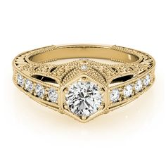 Transcendent Brilliance 14k Gold 1 1/2ct TDW White Diamond Antique Victorian Style Certified Engagement Ring (G-H, SI1-SI2) (Yellow - Size 4.5), Women's, Rose