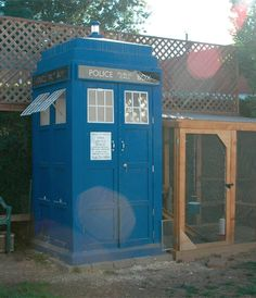 TARDIS chicken coop! If only it was larger on the inside than outside. Even so, it's so cool that my hubby might have  new project on his honey-do list!