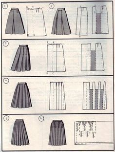 So many skirts model drawings - maomao - I move your feetSkirt lay-outs - Transformation jupe - Transformación faldaexcellent pattern diagrams for altering skirt blockModeling skirts (selection) / Simple Patterns / Fashions stylish clothing and inte Pleated Skirt Pattern, Skirt Patterns Sewing, Clothing Patterns, Skirt Sewing, Pleated Skirts, Techniques Couture, Sewing Techniques, Pattern Cutting, Pattern Making
