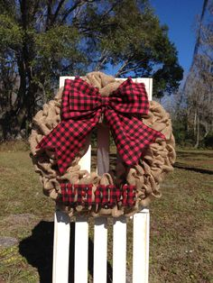 Burlap Buffalo Plaid All Seasons Wreath - Welcome Sign - Red Buffalo Check Plaid - Lumberjack Decor - Country Cottage Farmhouse Wreath Decor by LoveLeighCreationsUS on Etsy