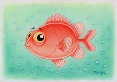 ILUSTRAÇÃO E ARTE - PEIXE DE ÁGUA SALGADA EM CARTOON - SALTWATER FISH - PEIXE FUSQUINHA - ANO DE 2012