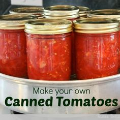 Canned Tomatoes Tutorial--these are the best made with with fresh tomatoes! Canning Vegetables, Canning Tomatoes, Veggies, Garden Tomatoes, Roma Tomatoes, Canning Recipes, My Recipes, Favorite Recipes, Fresco