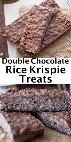 These Double Chocolate Rice Krispie Treats, the perfect homemade chocolate bar, fast and easy. Made with milk and dark chocolate and rice cereal. Makes a delicious dessert or snack, kids and adults will love it. Chocolate Rice Crispy Treats, Chocolate Rice Krispies, Homemade Chocolate Bars, Chocolate Cereal, Rice Krispy Treats Recipe, Rice Krispies Treats, Homemade Rice Krispies, Rice Krispie Bars, Homemade Chocolates