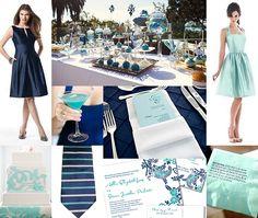 Navy Blue and Aqua Wedding