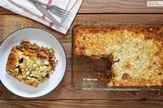 Moussaka, Vegetarian Menu, Veggie Recipes, Fried Rice, Lasagna, Macaroni And Cheese, Veggies, Bread, Cooking