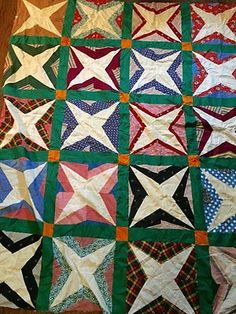 Vintage-Antique-WWII-Era-Cotton-Calico-4-Point-STAR-Quilt-TOPPER-by-Hand-EXC