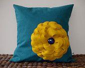 Yellow Billy Ball Flower Pillow in White Linen by JillianReneDecor Billy Button Bouquet Botanical Home Decor. $51.00, via Etsy.
