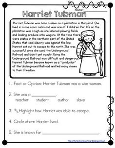 Harriet Tubman Reading Passage