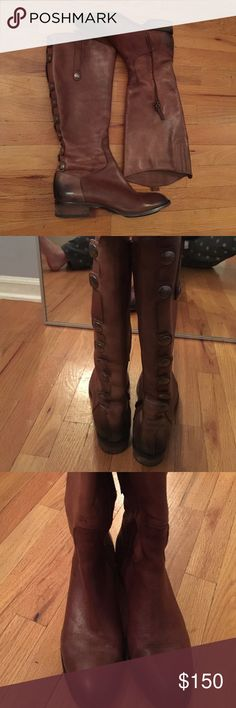 Sam Edelman Riding Boots Sam Edelman phallon-whiskey riding boots, worn only once! They have buttons going down the back of the boot and have inner zippers. There is a small mark in the middle of the right shoe shown in the 3rd picture but it isn't noticeable, and there are no scratches, stains, or creases. Sam Edelman Shoes Heeled Boots