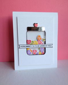Candy Jar Shaker card - shiny silver paper for the lid - bjl