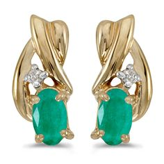 10k Yellow Gold Oval Emerald And Diamond Earrings >>> Be sure to check out this awesome product. (This is an affiliate link) #JewelryForSale