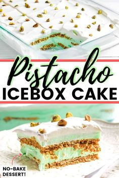 Pistachio Pudding Icebox Cake An easy no-bake pistachio pudding dessert recipe made with lush layers of pistachio pudding, whipped topping, graham crackers, and chopped nuts. Winter Desserts, Summer Dessert Recipes, Great Desserts, Köstliche Desserts, Delicious Desserts, Pistachio Pudding Cake, Pistachio Dessert, Slow Cooker Desserts, Icebox Cake Recipes