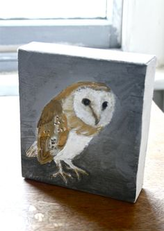 Owl painting on wood scrap block by tintabernacle on Etsy, $75.00
