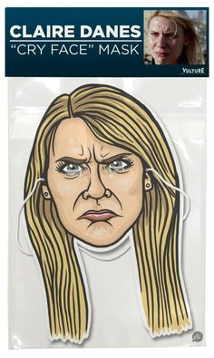 "the claire dane ""cry face"" mask, via vulture. if halloween wasn't canceled here in nyc, that would have been my costume!"