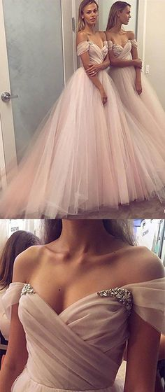 Elegant #Off-the-Shoulder #Tulle #Prom #Dress,Sexy Long Tulle #Evening Gown,#Cheap New Style #PromGown,P204