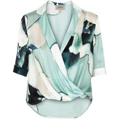 Armani Collezioni Floral silk satin blouse ($365) ❤ liked on Polyvore featuring tops, blouses, green floral top, flower print blouse, green blouse, floral print tops and drape wrap blouse