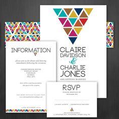 Wedding Invitation Triometric Colourful by IvoryMintStationery