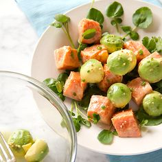 Little nips of heat from whole mustard seeds in this Marinated Wild Alaskan Salmon and Avocado Salad with Watercress. YUM!!