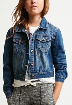 Girls Classic Denim Jacket (Kids)   Forever 21 girls - 2000173474