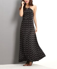 Look what I found on #zulily! Charcoal Geo Leaf Halter Maxi Dress #zulilyfinds