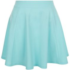 New Look Teens Mint Green High Waisted Skater Skirt ($12) ❤ liked on Polyvore featuring skirts, mint green, summer skirts, blue maxi skirt, mint skater skirt, circle skirt and summer maxi skirts