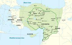 File:Map Hittite rule en.svgI. Şuppiluliuma (MÖ 1350–1322) ve II. Murşili (MÖ 1321–1295) döneminde Hitit İmparatorluğu'nun en geniş sınırları.  The Hittite Empire, approximate extent of the maximum area of the Hittite rule (light green) and the Hittite rule ca. 1350-1300 BC (green line)