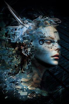 """ he says behind control screen . as dy-stop-i. laughs a wicked bay . she sleeps. Arte Do Sistema Solar, Creative Photography, Art Photography, Photographie Street Art, Arte Robot, Photoshop, Cyberpunk Art, Dark Fantasy Art, Surreal Art"
