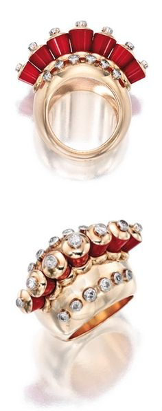 18 KARAT GOLD, PLATINUM, CORAL AND DIAMOND RING, CARTIER Circa 1935, Centering a row of tapered coral beads in the form of cocktail shakers, decorated with old European and single-cut diamonds weighing approximately .70 carat, gross weight approximately 16 dwts, size 5¾, signed Cartier Paris, numbered 11335, with French assay and partial workshop marks.