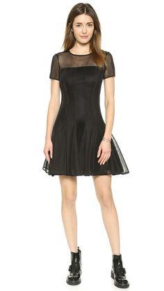 DKNY Short Sleeves Seamed Dress