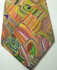 ULTRA RARE Vintage Art Deco Painting Pink Green Yellow Red Purple Blue Wide Tie #unbranded #NeckTie