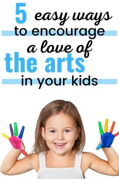 Encouraging a love of the arts in your kids is a good way to raise successful kids who are well-rounded and emotionally intelligent kids. The arts include arts and crafts, music lessons, performing arts, and more. All of the arts are important for a child's development and this article goes over 5 simple tips for encouraging a love of the arts in your kids. Typing Practice For Kids, Creative Activities, Activities For Kids, Online Music Lessons, Beginner Books, Performing Arts, Working With Children, Music Education, Kids Learning