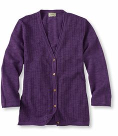 Fine-Gauge Pointelle-Front Cardigan: Sweaters | Free Shipping at L.L.Bean