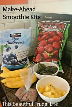 Healthy Make-Ahead Fruit & Veggie Smoothies {super easy breakfast option! Make Ahead Smoothies, Freezer Smoothies, Veggie Smoothies, Smoothies For Kids, Breakfast Smoothies, Smoothie Recipes, Heathy Breakfast, Baby Smoothies, Toddler Smoothies