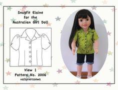 "2006 Snugfit Elaine for Australian Girl Dolls, Instant download PDF pattern, Doll clothes pattern, 20"" dolls"