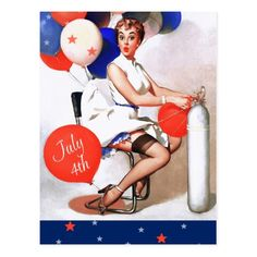 Happy 4th of July. Fourth of July , USA Independence Day Customizable Postcards with a vintage pin-up magazine illustration. Artist : Gil Elvgren. Matching cards and products available in the Holidays / 4th of July Category of the oldandclassic store at zazzle.com