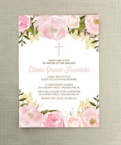 Invite friends and family to your daughters first communion or baptism with this lovely invitation. Dedication Ideas, Baby Dedication, First Communion Invitations, Baptism Invitations, Recuerdos Primera Comunion Ideas, Quince Invitations, Secret Garden Parties, Baptism Centerpieces, First Holy Communion