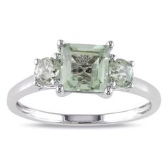 @Overstock - Miadora 10k White Gold Green Amethyst and Diamond 3-stone Ring - Green amethyst and diamond 3-stone ring10-karat white gold jewelryClick here for ring sizing guide  http://www.overstock.com/Jewelry-Watches/Miadora-10k-White-Gold-Green-Amethyst-and-Diamond-3-stone-Ring/8496609/product.html?CID=214117 $172.65