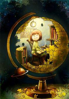 The moon library / El mundo es una gran biblioteca (ilustración de hika712)    Via:lackaskonya