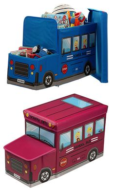 Children's Toy Storage Ottoman - Bus Childrens Storage Furniture, Childrens Toy Storage, Toy Storage Boxes, Gifts For Kids, Toddler Bed, Ottoman, Toys, Home Decor, Ideas