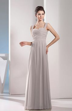 Hushed Violet Simple A-line Sleeveless Chiffon Floor Length Pleated Evening Dresses