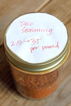 Homemade Taco Seasoning  1 Tbsp chili powder, 1/4 tsp garlic powder, 1/4 tsp onion powder, 1/4 tsp crushed red pepper flakes, 1/4 tsp dried oregano, 1/2 tsp paprika, 1.5 tsp ground cumin, 1/2 to 1 tsp sea salt (more or less to taste), 1 tsp black pepper    Mix together. Add 2 to 3 tablespoons of this mixture plus 1/2 to 3/4 cup of water to one pound of cooked meat (of your choice). Simmer over medium heat, stirring frequently until there is very little liquid left in the pan.