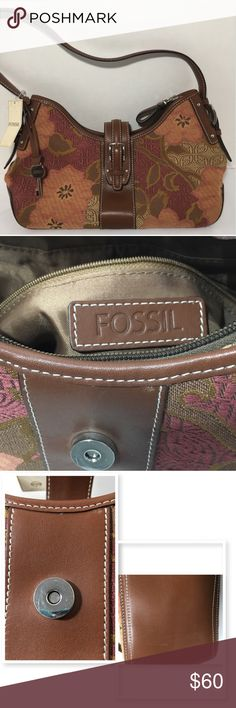 Fossil Tapestry Hobo Fossil Tapestry Hobo. Vintage piece measures approx 4 3/4 wide 11 long (bottom) 8 tall from bottom to handle (tallest)   2 unzippered compartments one zippered compartment in middle that also has a zippered compartment and 2 pockets. Handle bent and some scratches. See pics. Pics of key shows both sides not 2 Fossil Bags Hobos