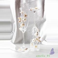 2 Unids/set Champán Cristal de La Boda Taza De Tostado DIYPearl shell FlutesLong Copas de Vino CupDiamond Ringfor Regalo La Decoración Del Partido