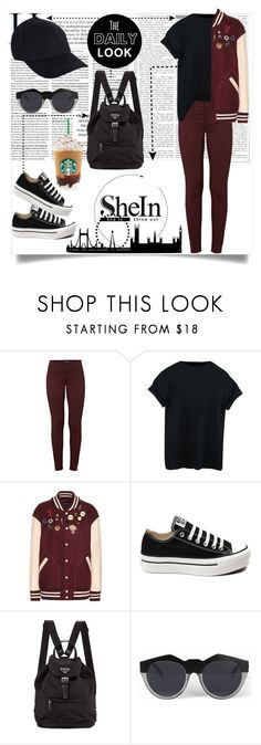 """""""Black Round Neck Letters 2 Print T-Shirt"""" by avete ❤ liked on Polyvore featuring J Brand, Marc Jacobs, Converse and Le Specs"""