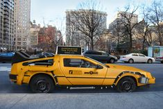 """Concept for the Taxi of Tomorrow. -  """"Back to the future DeLorean"""" meets taxi NYC Taxi."""