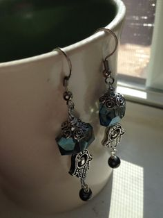 Handcrafted Filigree Silver Hamsa Drop Earrings with Sapphire Blue Faceted Beads with Pearl Accents on Etsy, $18.00