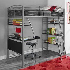 Bunk Bed With Desk, Loft Bunk Beds, Modern Bunk Beds, Bunk Beds With Stairs, Kids Bunk Beds, Xl Sofa, Bed Shelves, Metal Shelves, Ladder Shelves