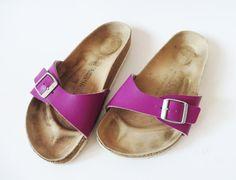 Purple Birkenstock Sandals One Strap Sandals Cork Sole Summer Shoes Platform Slides Plum Flip Flops Slip Size EUR 36 Made in Germany