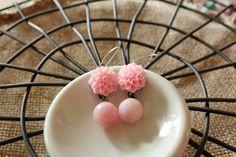Pink Flower Earrings Resin Cabochon Statement Jewelry by belmonili, $15.00