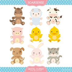 Baby Farm Animals Clipart by soarsense on Etsy